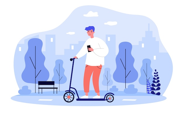 Hipster man met smartphone elektrische scooter rijden