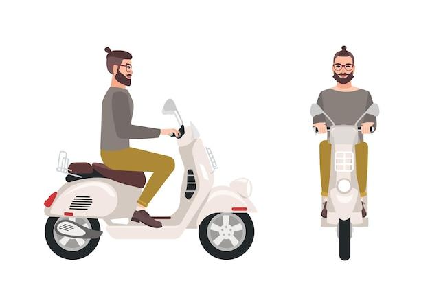 Hipster man of mannelijke stripfiguur met trendy kapsel en baard scooter rijden. stijlvolle jongen zittend op modern motorvoertuig geïsoleerd op een witte achtergrond.