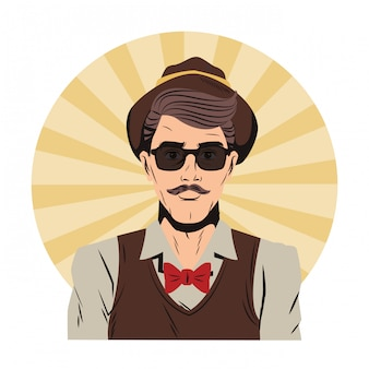 Hipster man popart cartoon