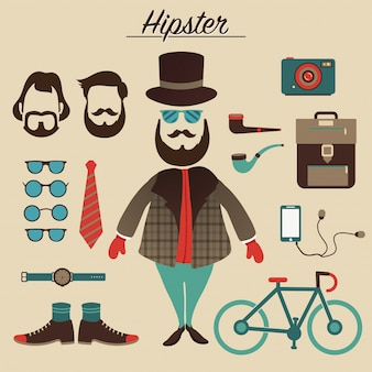 Hipster mannelijk karakter met hipster elementen en pictogrammen.