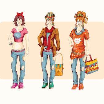 Hipster meisje ingesteld