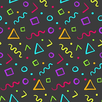 Hipster naadloos patroon met kleurvormen in memphis-stijl