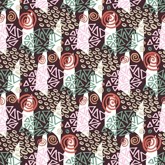 Hipster naadloze patroon met kleurpatronen. mode achtergrond