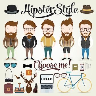 Hipster ontwerpt collectie