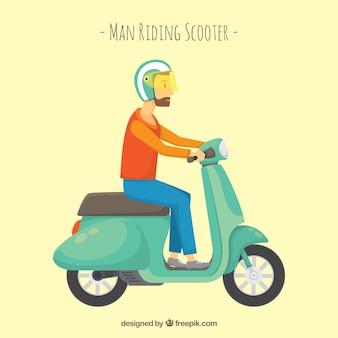 Hipster op elektrische scooter