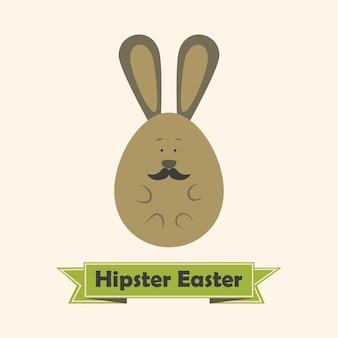 Hipster pasen wenskaart met konijn met snor. vlak gestileerde illustratie