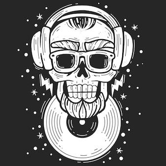 Hipster schedel dj. hipster schedel dj muziek embleem
