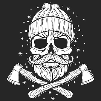 Hipster schedel houthakker illustratie