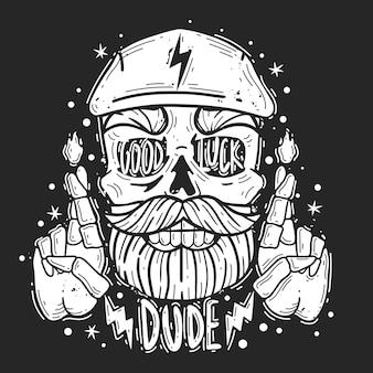 Hipster schedel kerel illustratie