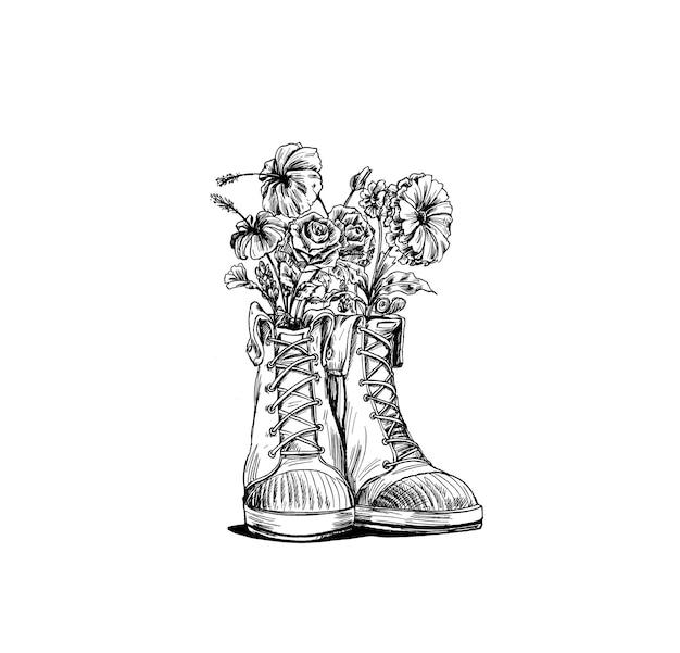Hipster sneakers in de hand getekende afbeelding, vectorillustratie mode.