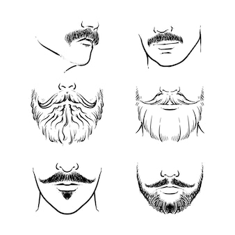 Hipster snor vector set