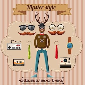 Hipster stijl karakter concept, cartoon stijl