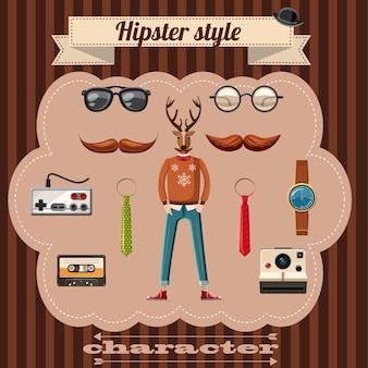 Hipster stijlkenmerken concept. de beeldverhaalillustratie van hipster schept attributen vectorconcept voor web toe