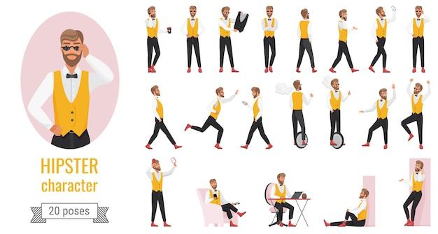 Hipster-tekenset vormt, jonge bebaarde hipster man in geel vest in verschillende houdingen