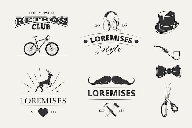 Hipster vector logo's