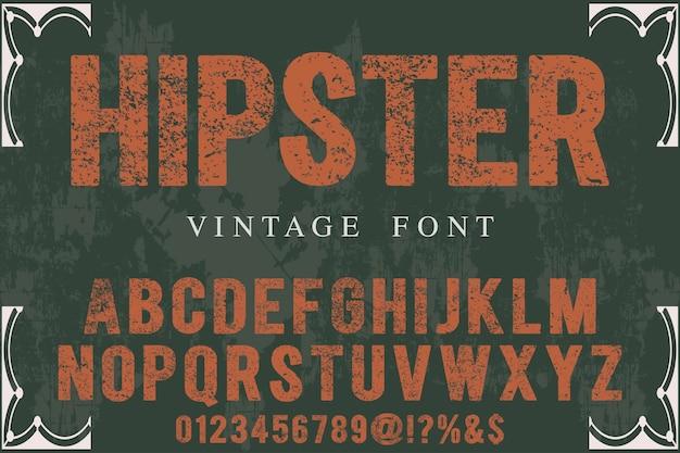Hipster vintage belettering