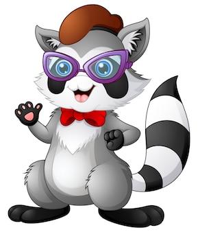 Hipster wasbeer draagt strikje en bril