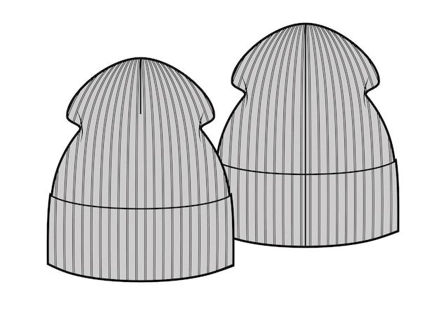 Hipster winter hoed, schets stijl vectorillustraties geïsoleerd op een witte achtergrond. vector sjabloon. mode schets