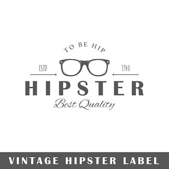 Hipsteretiket op witte achtergrond. element. sjabloon voor logo, bewegwijzering, huisstijl. illustratie