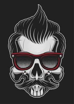 Hipsterschedel met glas, haar en snor op donkere achtergrond.