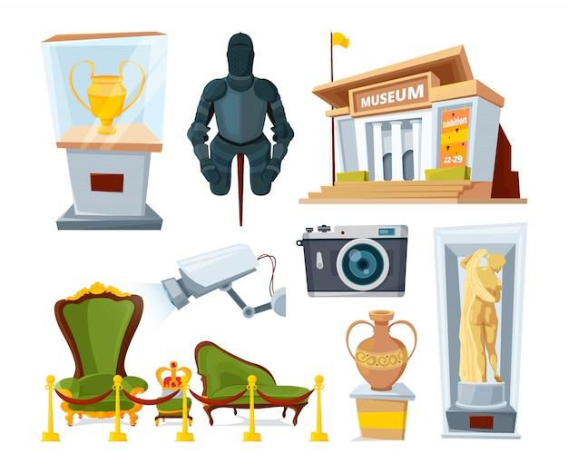 Historisch museum met verschillende tentoongestelde voorwerpen