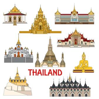 Historische bezienswaardigheden en architectuurgebouwen van paleizen in thailand