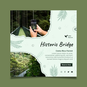 Historische brug kwadraat flyer-sjabloon
