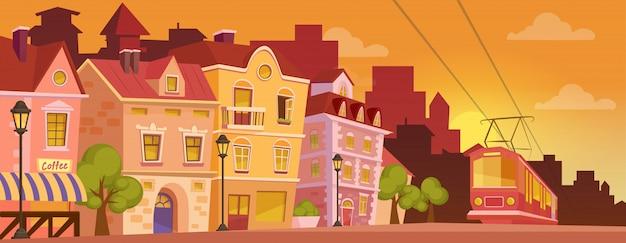 Historische cartoon stad straat op zonsopgang of zonsondergang. oude stad met tram.