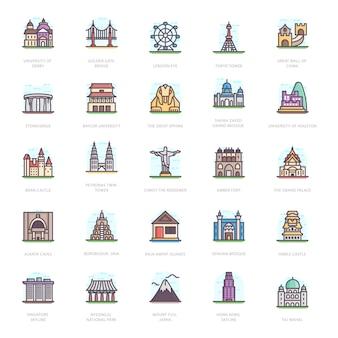 Historische gebouwen plat pictogrammen