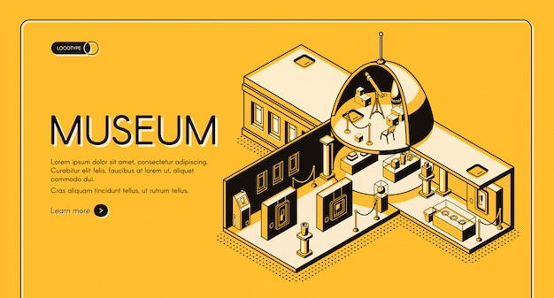 Historische, kunst of wetenschap museum dwarsdoorsnede isometrische vector webbanner