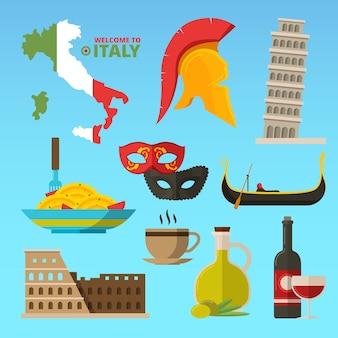 Historische symbolen van rome italië. illustraties. reis naar italië en italiaans toerisme, het oriëntatiepunt van rome, spaghetti en monument