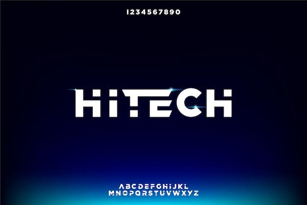 Hitech, een abstract futuristisch alfabetlettertype met technologiethema. modern minimalistisch typografieontwerp