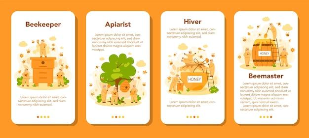 Hiver of imker mobiele applicatie banner set. professionele boer met bijenkorf en honing. biologisch product op het platteland. bijenstalarbeider, bijenteelt en honingproductie. vector illustratie