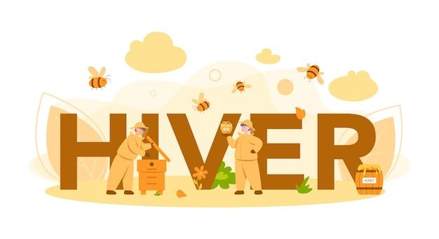 Hiver of imker typografische koptekst concept. professionele boer met bijenkorf en honing. biologisch product op het platteland. bijenstalarbeider, bijenteelt en honingproductie.