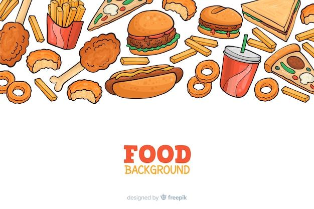 Hnad getekend fastfood achtergrond