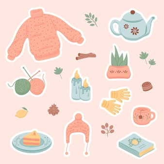 Hnd getekende winter en herfst hygge stickers