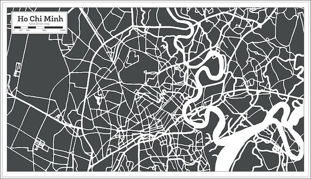 Ho chi minh vietnam-stadskaart in retrostijl. overzicht kaart. vectorillustratie.