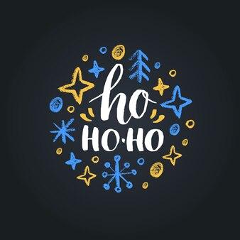 Ho ho-ho belettering op zwarte achtergrond. kerst krijt tekening illustratie.