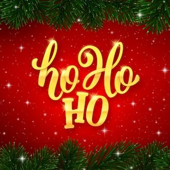 Ho-ho-ho-tekst op kaart voor kerstmisvakantie