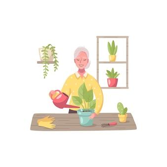 Hobby cartoon samenstelling met vrouwelijk karakter van oudere vrouw die voor huisplanten zorgt