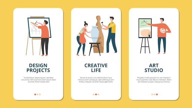 Hobby concept. ontwerp kunstenaar creatieve mensen karakters. creatieve concepten voor mobiele toepassingen, hobbybanners. activiteit handgemaakt met penseel, ambachtelijke bezetting hobby illustratie