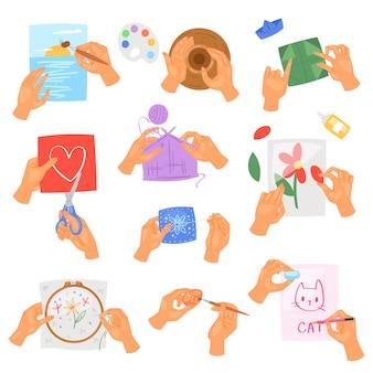 Hobby handen vector instructies van wassen of reinigen van de handen met zeep en schuim in water illustratie antibacteriële set van gezonde huidverzorging met bubbels geïsoleerd