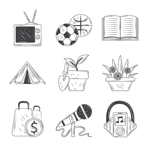 Hobby's iconen set, sport, tv, muziek, winkelen, tuinieren en lees schets stijl illustratie