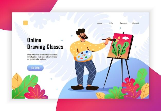 Hobby's online tekenlessen platte kleurrijke landingspaginabanner met schildersezel man in loungekleding