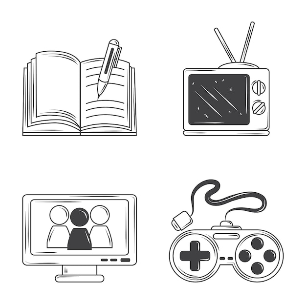 Hobby's pictogrammen instellen, schrijven, spel, tv kijken schets stijl ontwerp illustratie