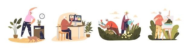 Hobby's voor senioren: sporten, tuinieren, schilderen en videogesprekken voeren met familie