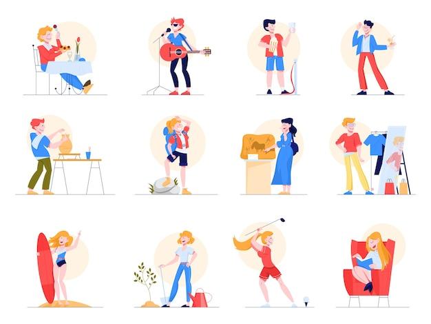 Hobby-set. verzameling van mensen en creatieve activiteit. artistieke persoon. sport en kunst, uitgaan en lezen. illustratie in stijl