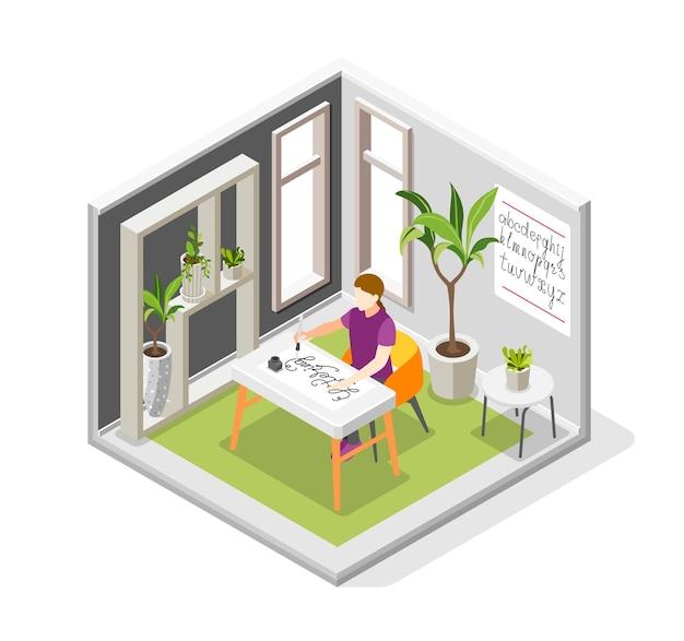 Hobbykalligrafie isometrische compositie met kamerplanten voor binnen en meisje aan tafel tekenen van letters illustratie