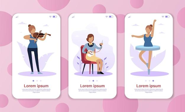 Hobbymeisjes. prestatiecarrièreconcept voor mobiele app, website of webpagina, smartphonescherm. meisje speelt viool, vrouw borduurt en danseressen ballet. cartoon platte vector set