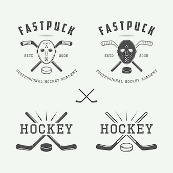 Hockey emblemen, logo set